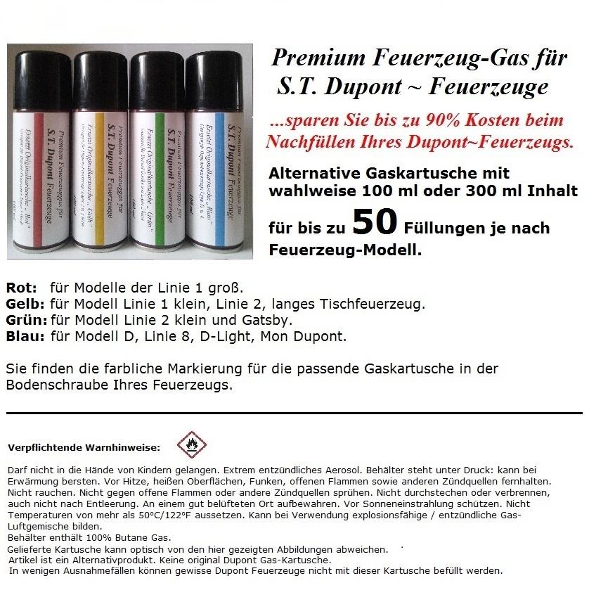 Rot Premium Feuerzeug Gas für S.T Linie 1 Groß DUPONT Feuerzeuge